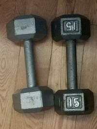 two black fixed weight dumbbells Toronto, M1G 2W4