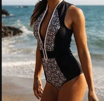 Swimsuit size medium and also in small  Absolutely gorgeous!!!