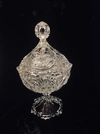 Beautiful Etched & Cut Crystal Covered Candy Dish Bear, 19701