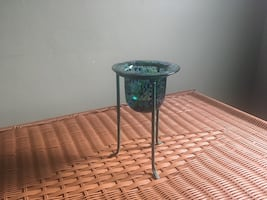 Blue and green candle holder with  metal stand- nice decor-cute piece.