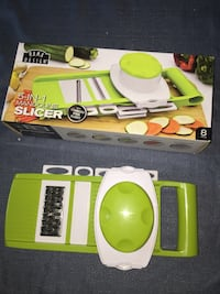 5 in 1 slicer, amazing results, easy to use and easy to wash, it comes with hand protector.  Edmonton