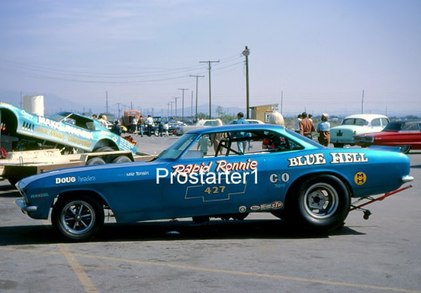4x6 Color Drag Racing Photo Rapid Ronnie Runyan BLUE HELL Corvair Funny Car