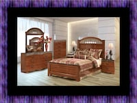 11pc Ashley cherry bedroom set with mattress 44 km