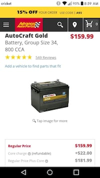 AutoCraft Gold Battery, Group Size 34, 800 CCA Clairton, 15025