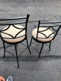 two black metal framed brown padded chairs Sterling, 20166