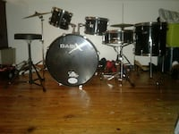 black and gray Basix drum set