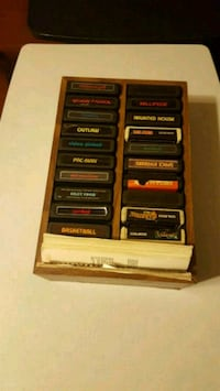 Vintage Atari Games and wooden game holder  Jessup, 20794