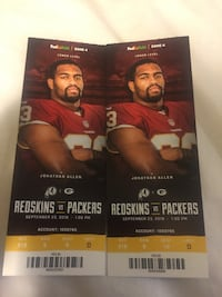 Redskins tickets for today's game. $153 tickets that I'll sell for $90 each Rockville, 20850