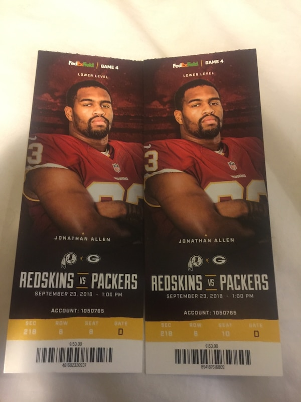 Redskins tickets for today's game. $153 tickets that I'll sell for $60 each