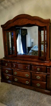 brown wooden dresser with mirror 70 km