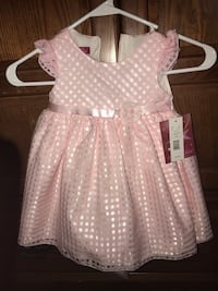 girl's white and pink polka dot dress Savannah, 31406