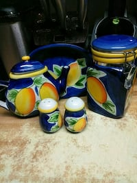 blue and yellow ceramic canister El Paso, 79930