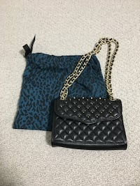 Authentic Rebecca Minkoff Gold Studded Black Quilted Leather Mini Affair Vancouver, V5R