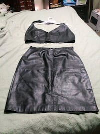black leather top and skirt