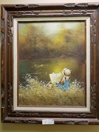 Wood framed painting of Boy Painting on River Bank Waukegan, 60085