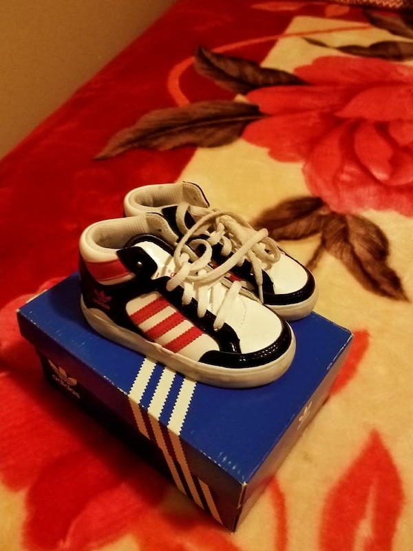 toddler's pair of white-and-blue Adidas sneakers on box
