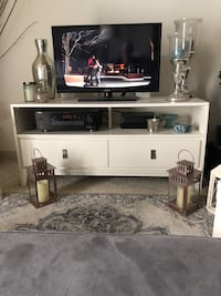 White, TV stand. West Elm. 2 drawers