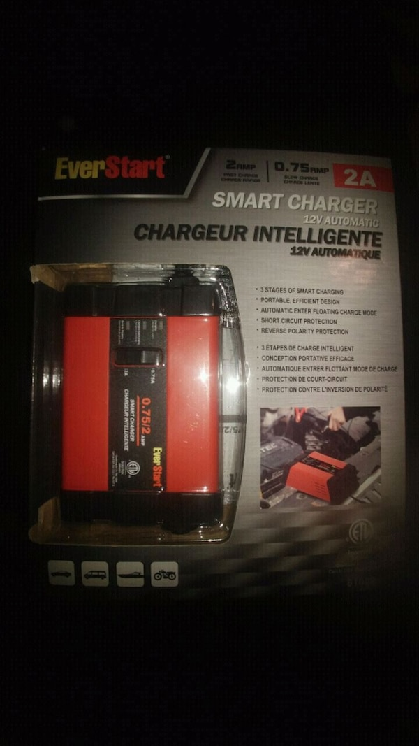 red and black EverStart smart charger pack