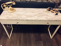 rectangular white and black wooden table Langley