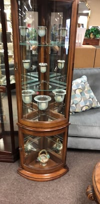 brown wooden framed glass display cabinet York, 17404