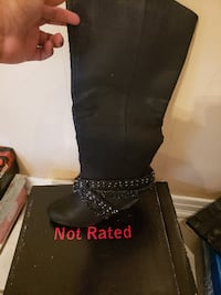 black leather knee high boots MOBILE