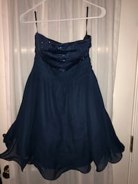 Navy chiffon strapless dress.  Worn once. Columbia, 21044