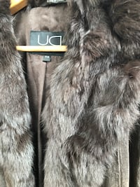 Genuine Brown Suede coat with real fur collar 569 km