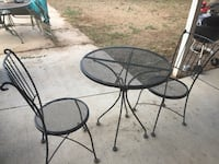 Round black metal patio table with two chairs Arvada, 80002