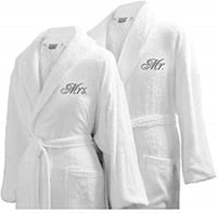 Set of 2 Mr & Mrs White Terry Robes One Size Fits Most Wedding Bridal