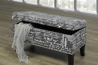 FRENCH SCRIPTED GREY STORAGE BENCH