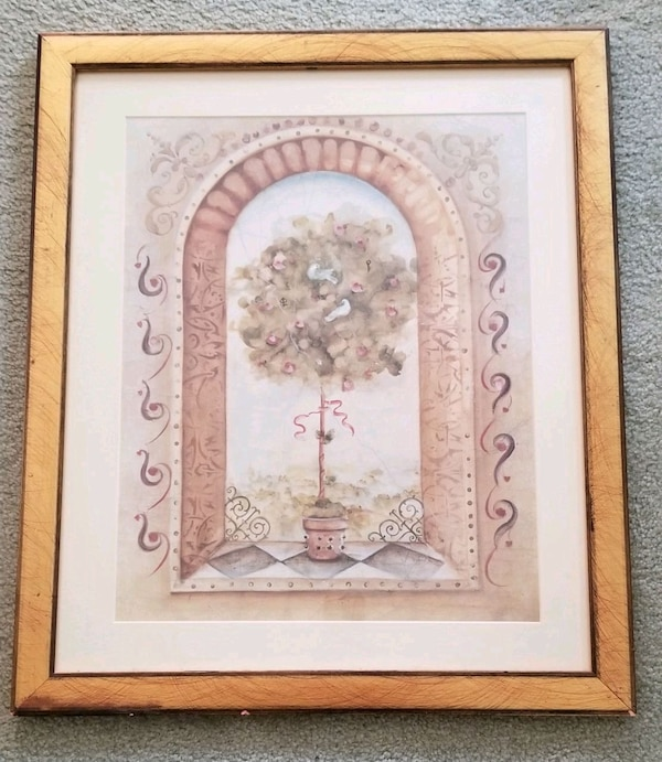 Brown wooden framed painting of flowers bf8870ce-96f8-4cb4-987f-89a8877a7881
