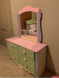 pink and white wooden dresser with mirror Houston, 77057