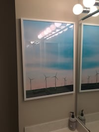 Framed picture of windmills 42 km