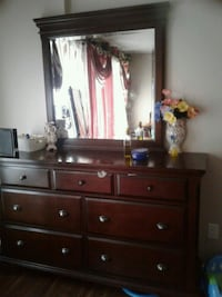 brown wooden dresser with mirror Surrey, V3T 1P1