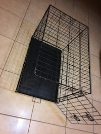 Black metal folding dog crate kennel