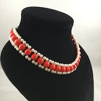 Handmade Bead Necklace Red And White Nottingham, 03290