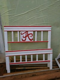 white-and-red headboard and footboard
