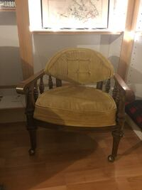2 vintage captains chairs. Yellow Velvet. Seattle, 98105
