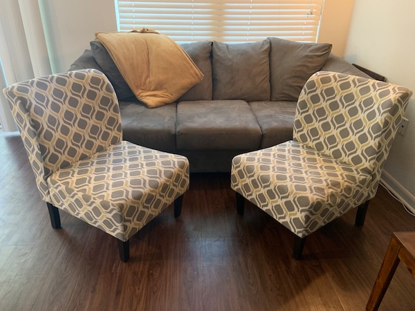Tremendous Gray Fabric 3 Seat Sofa W 2 Patterned Accent Chairs Along With A Throw Blanket Andrewgaddart Wooden Chair Designs For Living Room Andrewgaddartcom