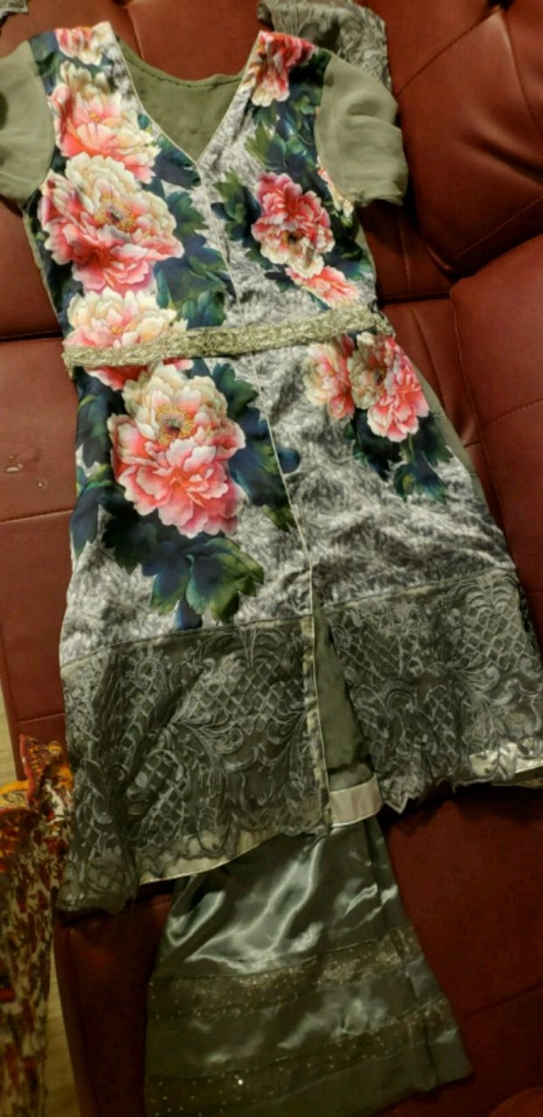 gray and green floral sleeveless dress