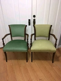 two green padded brown wooden armchairs Vancouver, V5K 1L9