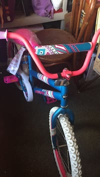 Toddler's pink and blue bicycle