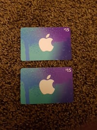 two $15 iTunes gift cards