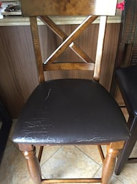black leather padded brown wooden chair 723 km