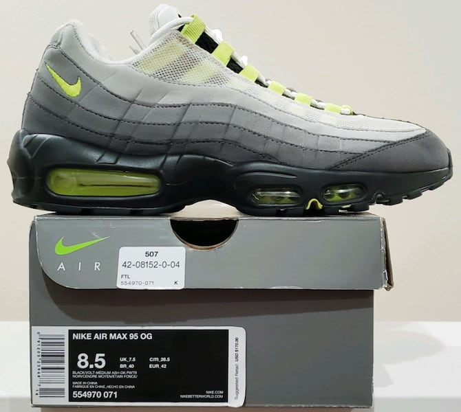 Used Nike Air Max 95 Og Neon 71 Size 8 5 For Sale In Lake Elsinore Letgo