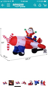 HomCom 8 Ft Long Outdoor Animated Airblown Inflatable Christmas Lawn Decoration - Santa Flying A Plane Waltham, 02453