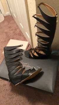 REPORT SIGNATURE: Black leather gladiator sandles Hyattsville, 20784