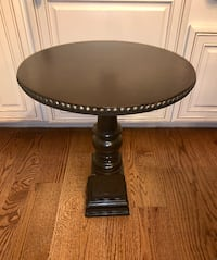 Hammered trim dark chocolate pedestal round accent end table Kensington, 20895