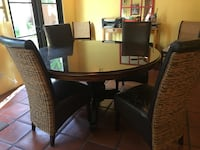5-foot round solid wood dining table w/ removable glass top San Diego, 92106