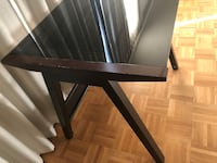 Glass top table with wooden frame and metal base 3751 km